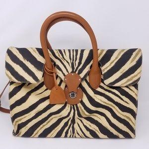 Ralph Lauren zebra canvas Ricky tote bag